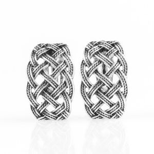 Braided Rivers - Silver Clip-On Earrings